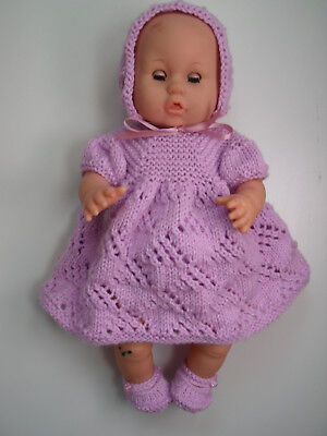 4 pce Clematis Hand Knitted Dolls Clothes. 35cm 14in