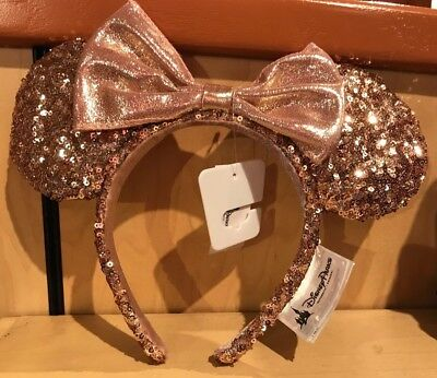 Disney Parks Rose Gold Minnie Mouse Ears Sequined Bow Headband - Brand New