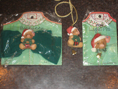 Enesco TLP This Little Piggy Christmas Necklace Barrette Lapel Pin Pig Piglet