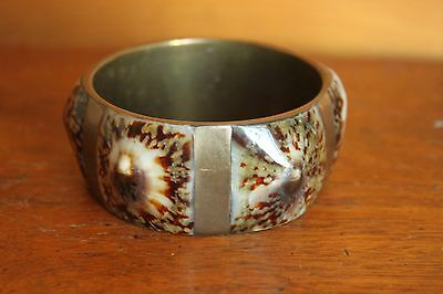 Vintage Inlaid Brass Tortoise Shell Faux Tortoiseshell Bangle Bracelet