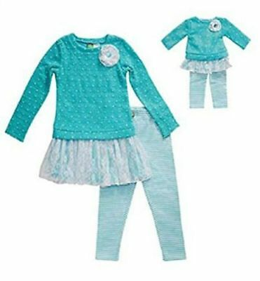 """NWT Dollie & Me Girl and 18"""" Doll Matching Outfit Leggings and Top Set"""