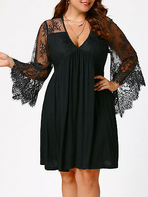 Plus Size Womens Sexy Lace Panel Flare Sleeve Evening Party Short Mini Dress