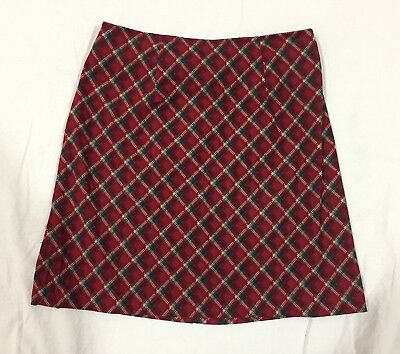 Vintage La Belle Girl's Straight Line Red Plaid Polyester Skirt Made In USA EUC