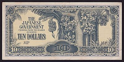 Malaya - Japan occupation WWII Banknote 10 Dollars 1942 P-M7c Block Letters MP