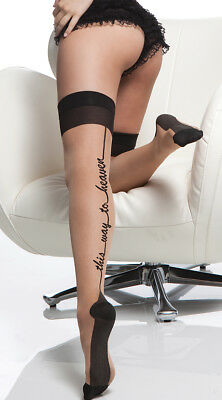 """One Size Fits Most Womens Cuban Heel """"this Way To Heaven"""" Sheer Thigh Highs,"""