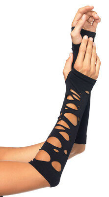 One Size Fits Most Womens Distressed Arm Warmers, Black Arm Warmers