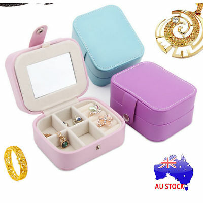 Portable Travel Jewelry Box Organizer Leather Case Storage Christmas Gifts ON