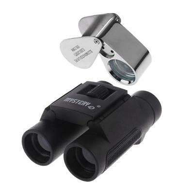 Illuminated Magnifier Magnifying Glass LED Folding Jewelers Loupe+Binocular