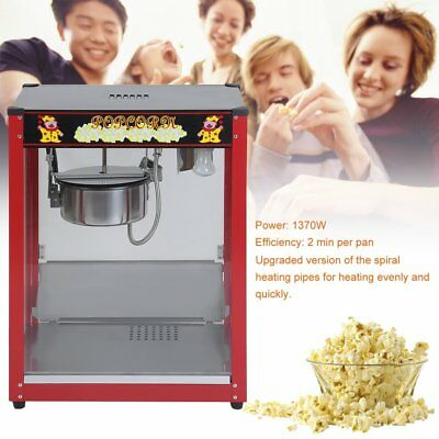 Red Popcorn Machine Commercial Electric Pop Corn Maker Popper Party 8Oz 1370W BB