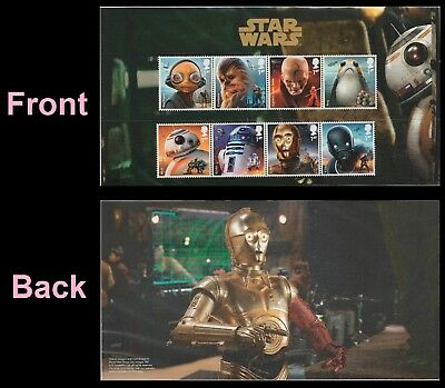 UK Star Wars Characters Stamp Set (8 stamps) on presentation card MNH 2017
