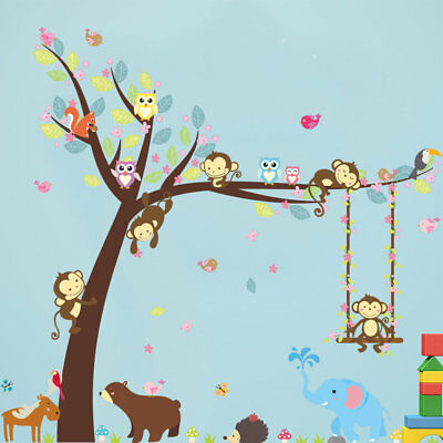 Removeable Wall Stickers Wall Painting Monkey Swing Pattern Room Decoration GI