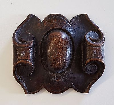 Antique carved wood pediment mount plaque FURNITURE DECOR Small