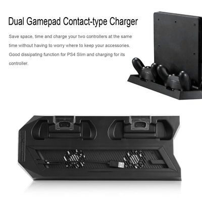 Vertical Stand Dock Cooling Fan For PS4 Slim Controller Charger Playstation AU