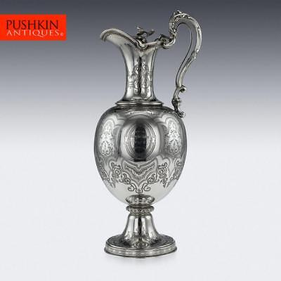 ANTIQUE 19thC VICTORIAN SOLID SILVER LARGE WINE EWER JUG, GLASGOW c.1861