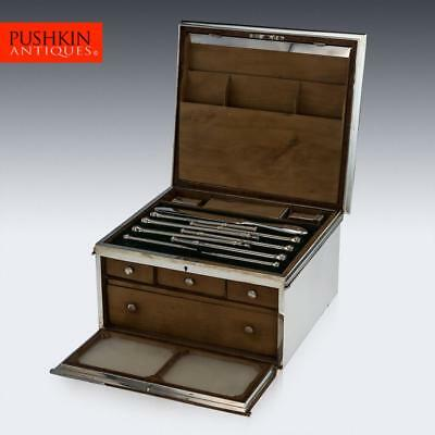 ANTIQUE 19thC VICTORIAN SOLID SILVER BOXED DESK WRITING SET, LONDON c.1863