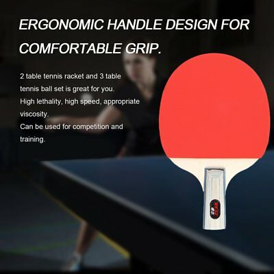 REIZ Table Tennis Racket Set With 3 Balls Ping Pong Paddle For Match Training GU