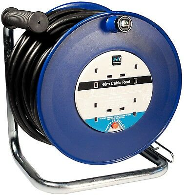 Heavy Duty Work 4 Socket 13 amp Open Cable Reel Extension Power Lead Drum - 40 m