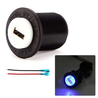 Waterproof Blue Light 2.1A USB Power Charger for Cars / Motorcycles 12~24V