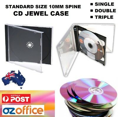 Australian Standard Size CD Jewel Cases Single Double Triple Clear Black Tray