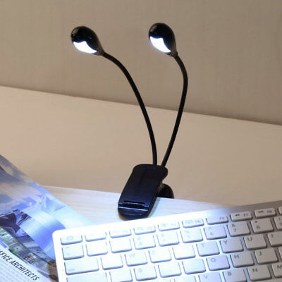 2 Dual Flexible Arms 4 LED Clip-on Light Lamp for Piano Music Stand Book WU