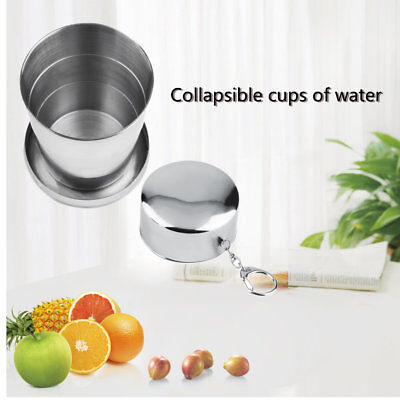 220ml Stainless Steel Portable Folding Telescopic Collapsible Outdoor Cup GU