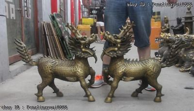 Chinese Royal  Bronze Dragon Kylin Unicorn Kirin Kilin Chi-Lin Beast Statue Pair