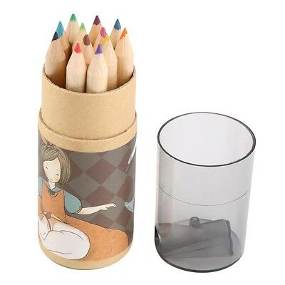 12pcs Watercolour Pencils Case Drawing Coloring Set Artists With Sharpener GU