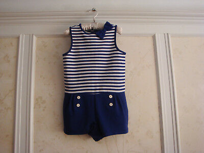 NWT Janie And Jack  Enchanted Valley Girls  Striped Ponte Romper  7  Navy Stripe