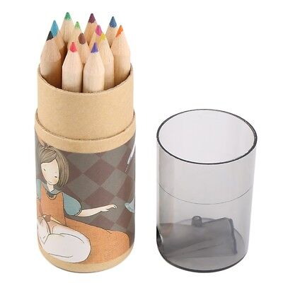 12pcs Watercolour Pencils Case Drawing Coloring Set Artists With Sharpener OU
