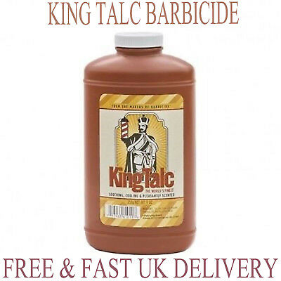 New Barbicide KING RESEARCH, King Talc Soothing Cooling Barber Talcum Powder 9oz