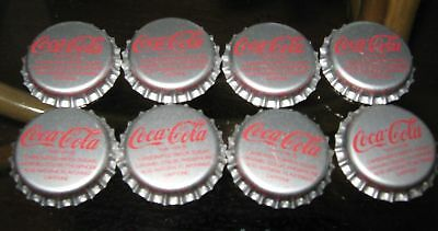 8X PIECE COCA COLA BOTTLE CAP SILVER UNUSED NEVER CRIMPED.(Pepsi Cola) 7UP Craft