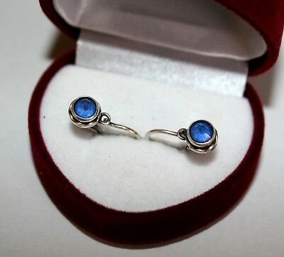 Awesome Delicate Blue Corundum Vintage EARRINGS Silver 875 USSR