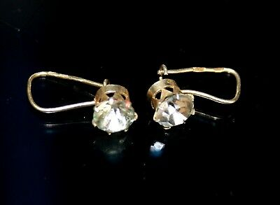 Rock Crystal Soviet USSR  Vintage EARRINGS SILVER 875 RARE Antique