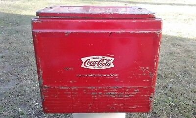 Vintage Coca-Cola Advertising Portable Picnic Cooler With Bottle Opener & Tray