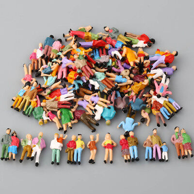100pcs HO Scale 1:87 Painted Model Passenger People Figures assorted Poses