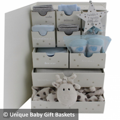 Packed Baby Keepsake Box with drawers baby boy gift hamper boy baby shower gift