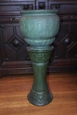 Vintage Weller Arts Crafts Matte Green Art Pottery Griffin Jardiniere & Pedestal