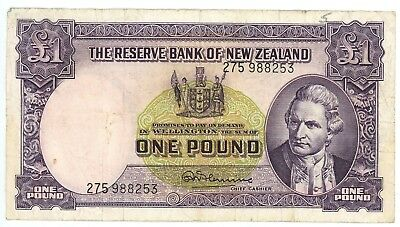 1960-1967 ND The Reserve Bank of New Zealand 1 One Pound Pick P-159D