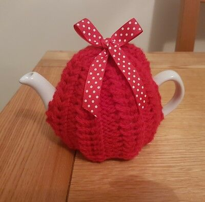 Hand Knitted 1 - 2 Cup Tea Cosy - Red
