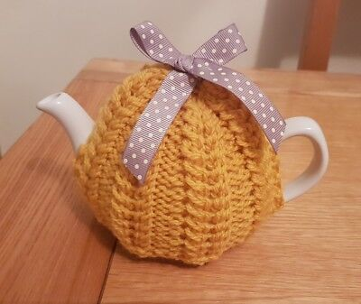 Hand Knitted 1 - 2 Cup Tea Cosy - Mustard Yellow