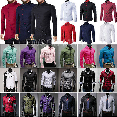 Mens Luxury Casual Shirts Long Sleeve Business Formal Slim Fit Dress Shirt Tops
