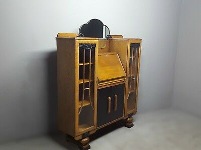 Vintage Oak Art Deco Style Lockable Bureau Bookcase Display Cabinet