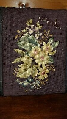 Vintage/antique Style Needlepoint/cross Stitch Small Foot Stool  Flowers