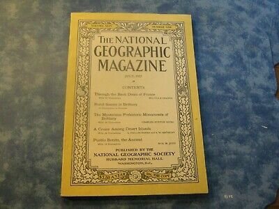 ANTIQUE NATIONAL GEOGRAPHIC July 1923 FRANCE Rural Britanny DESERT ISLAND CRUISE