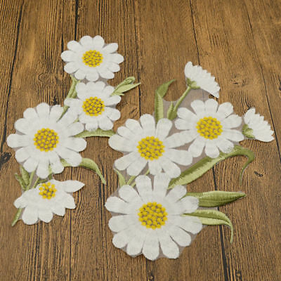 DIY Embroidery Fabric Patch Applique Flower White Chrysanthemum Iron On Clothes