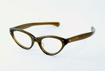 True Vintage Deadstock Nos Cateye Made In Usa Eyeglass Frames Clear Dark Maple