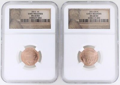2011-P/D Lincoln Union Shield Cent 1C NGC MS68 RD Red Early Releases 2-Coin Set
