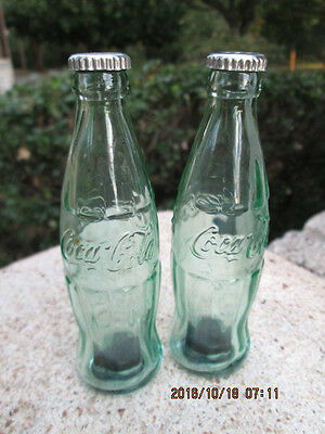 "Vintage 2 Glass COCA COLA Coke Bottle Salt and Pepper Shakers 4 3/8"" Green GCon"