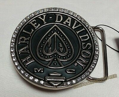 Harley-Davidson Ace Belt Buckle Rhinestone Polished Nickel & Black Enamel womens