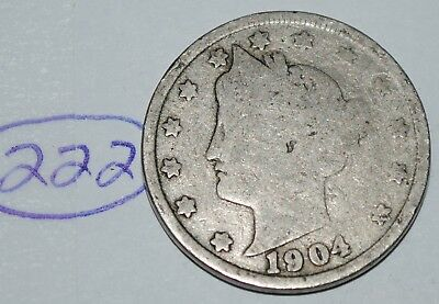 United States 1904 Liberty Head Nickel USA 5 Cents Coin Lot #222